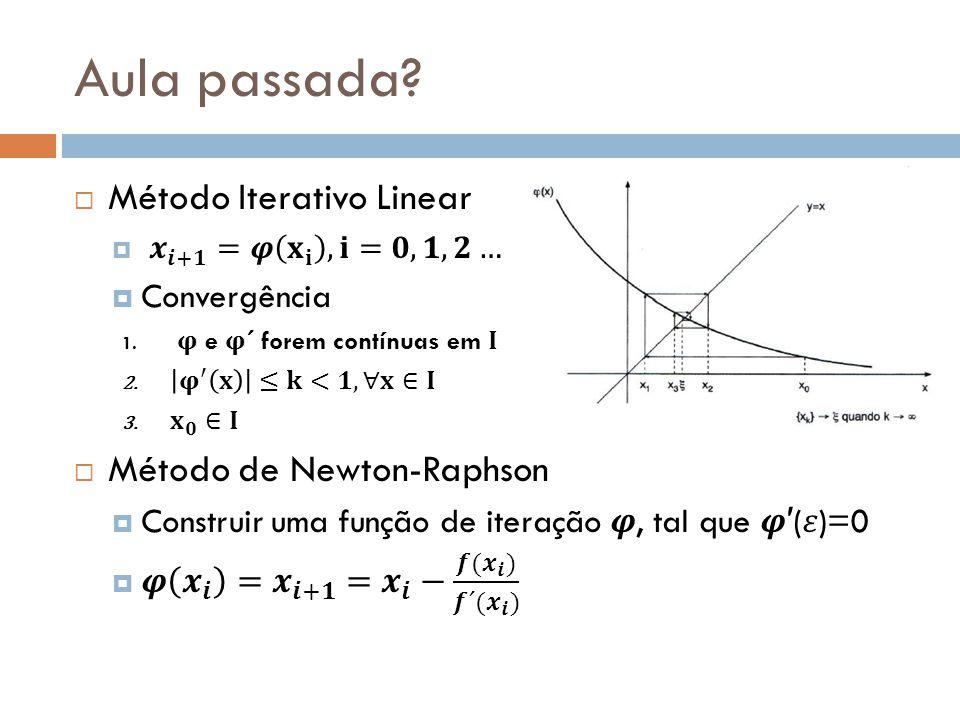 Aula passada Método Iterativo Linear Método de Newton-Raphson