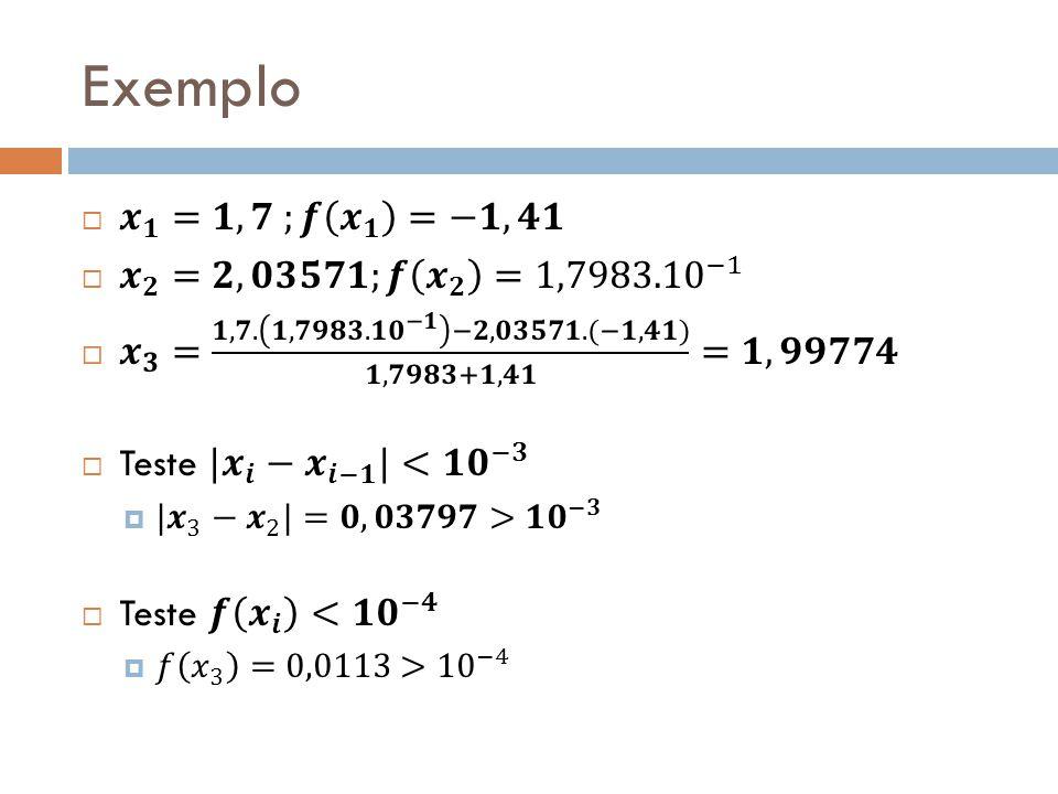 Exemplo 𝒙 𝟏 =𝟏,𝟕 ;𝒇 𝒙 𝟏 =−𝟏,𝟒𝟏 𝒙 𝟐 =𝟐,𝟎𝟑𝟓𝟕𝟏;𝒇 𝒙 𝟐 = 1,7983.10 −1