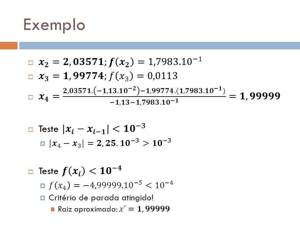 Exemplo 𝒙 𝟐 =𝟐,𝟎𝟑𝟓𝟕𝟏;𝒇 𝒙 𝟐 = 1,7983.10 −1 𝒙 𝟑 = 𝟏,𝟗𝟗𝟕𝟕𝟒;𝑓 𝑥 3 =0,0113