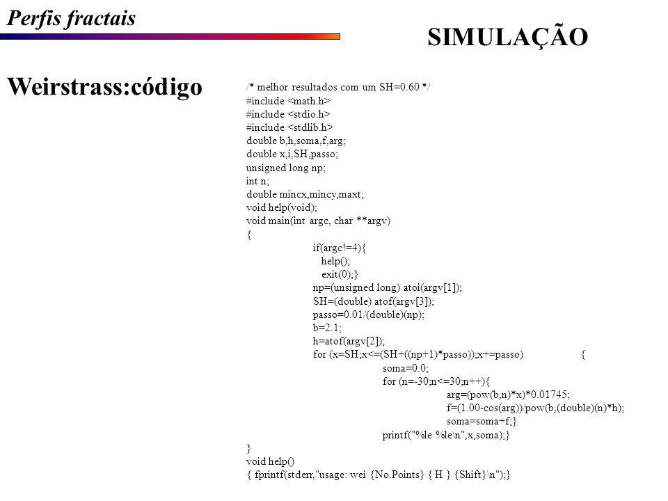 SIMULAÇÃO Weirstrass:código Perfis fractais