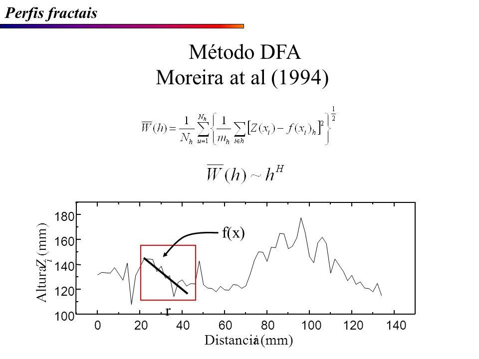 Método DFA Moreira at al (1994) Perfis fractais f(x) r (mm) Z Altura