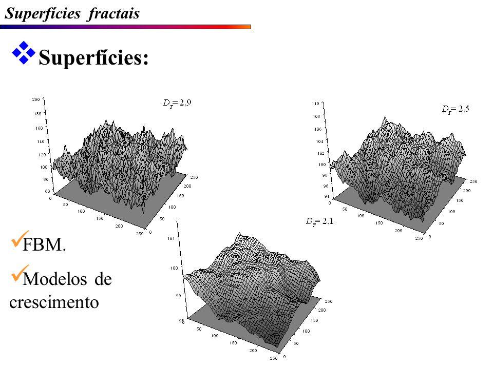 Superfícies fractais Superfícies: FBM. Modelos de crescimento