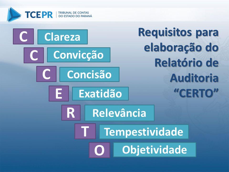 C C C E R T O Requisitos para elaboração do Relatório de Auditoria