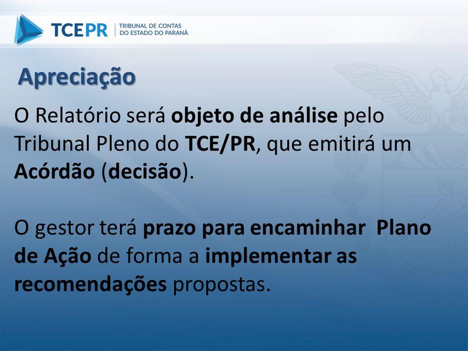 Apreciação O Relatório será objeto de análise pelo Tribunal Pleno do TCE/PR, que emitirá um Acórdão (decisão).