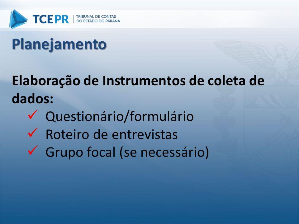 Planejamento Elaboração de Instrumentos de coleta de dados: