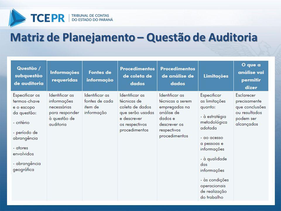 Matriz de Planejamento – Questão de Auditoria
