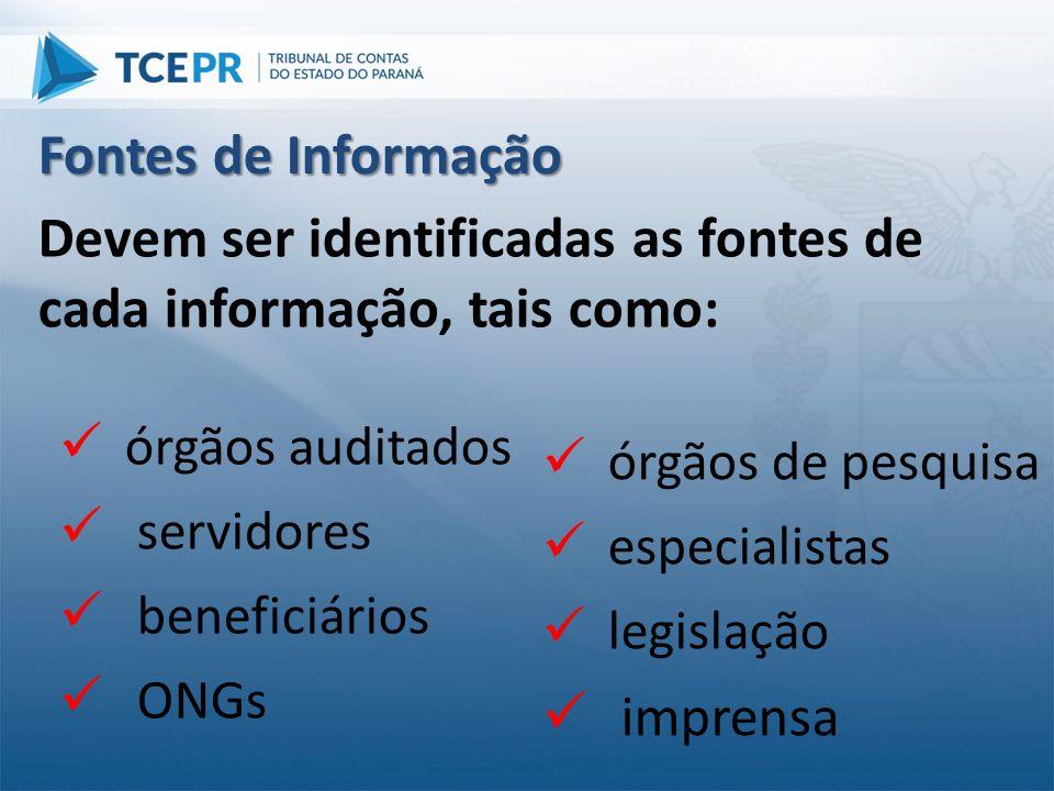 Devem ser identificadas as fontes de cada informação, tais como: