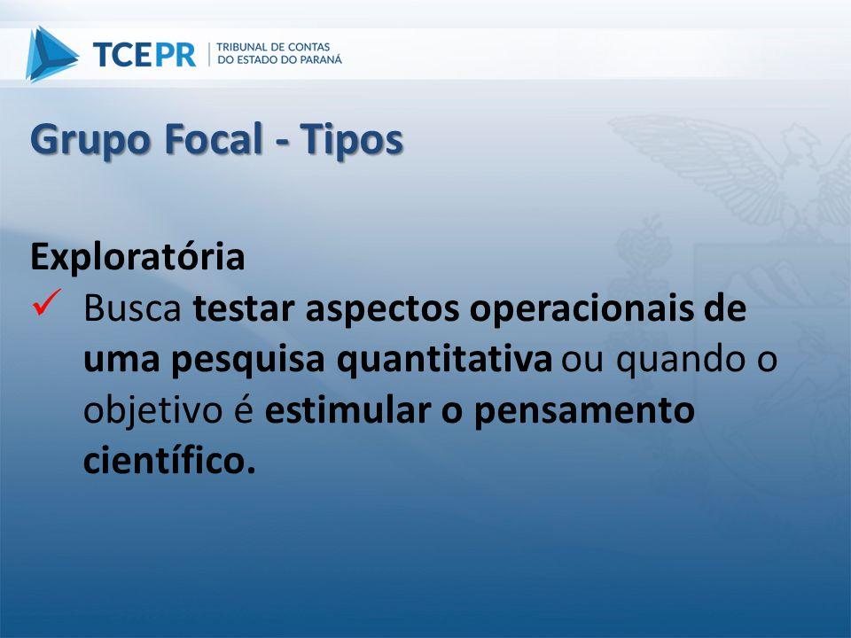 Grupo Focal - Tipos Exploratória