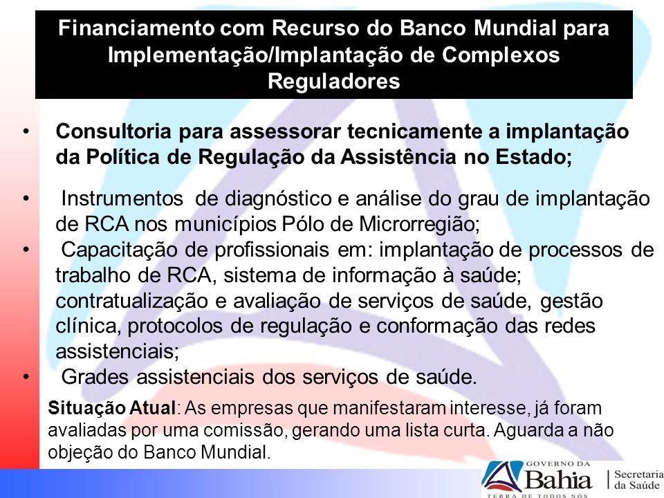 Financiamento com Recurso do Banco Mundial para Implementação/Implantação de Complexos Reguladores