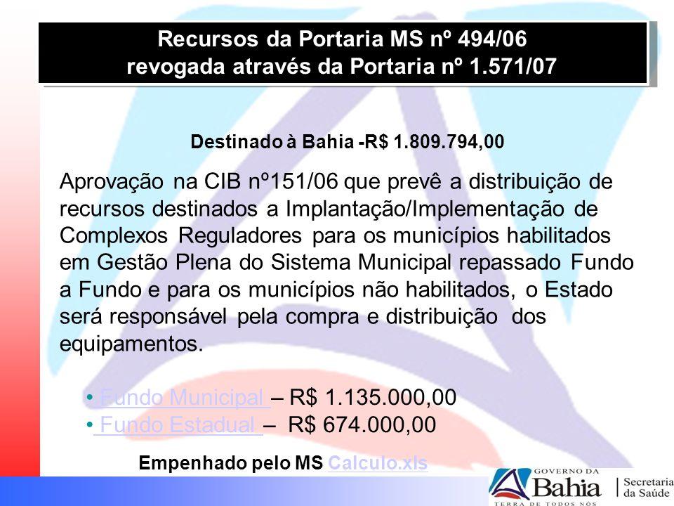 Recursos da Portaria MS nº 494/06