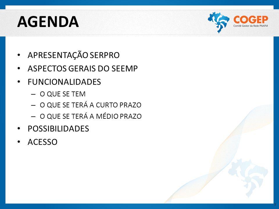 AGENDA APRESENTAÇÃO SERPRO ASPECTOS GERAIS DO SEEMP FUNCIONALIDADES