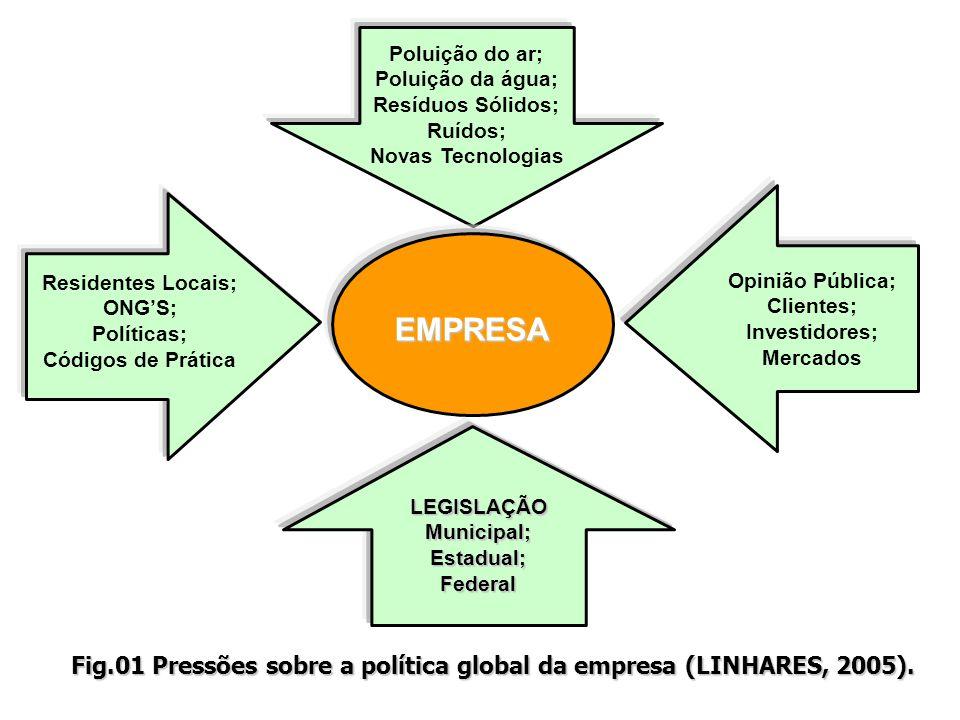 Fig.01 Pressões sobre a política global da empresa (LINHARES, 2005).