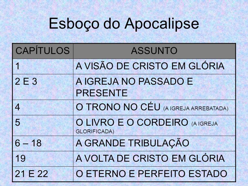 Esboço do Apocalipse CAPÍTULOS ASSUNTO 1 A VISÃO DE CRISTO EM GLÓRIA