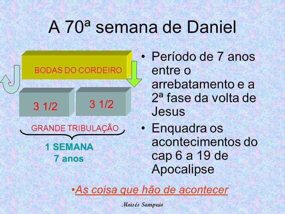 A 70ª semana de Daniel Período de 7 anos entre o arrebatamento e a 2ª fase da volta de Jesus. Enquadra os acontecimentos do cap 6 a 19 de Apocalipse.