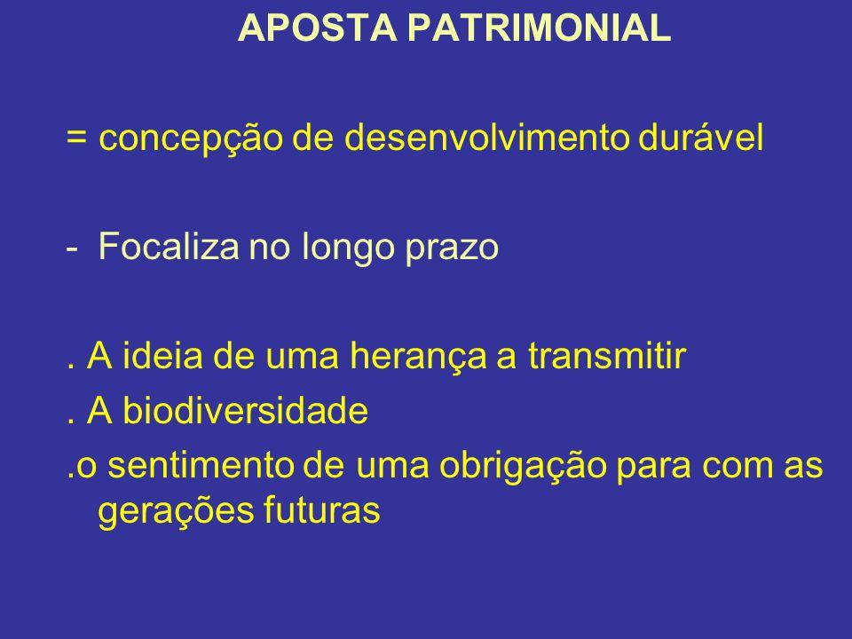 APOSTA PATRIMONIAL = concepção de desenvolvimento durável. Focaliza no longo prazo. . A ideia de uma herança a transmitir.