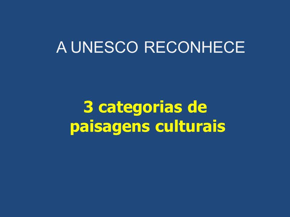 A UNESCO RECONHECE 3 categorias de paisagens culturais
