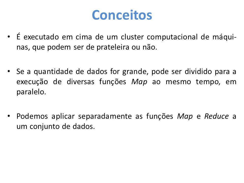 Conceitos É executado em cima de um cluster computacional de máqui-nas, que podem ser de prateleira ou não.