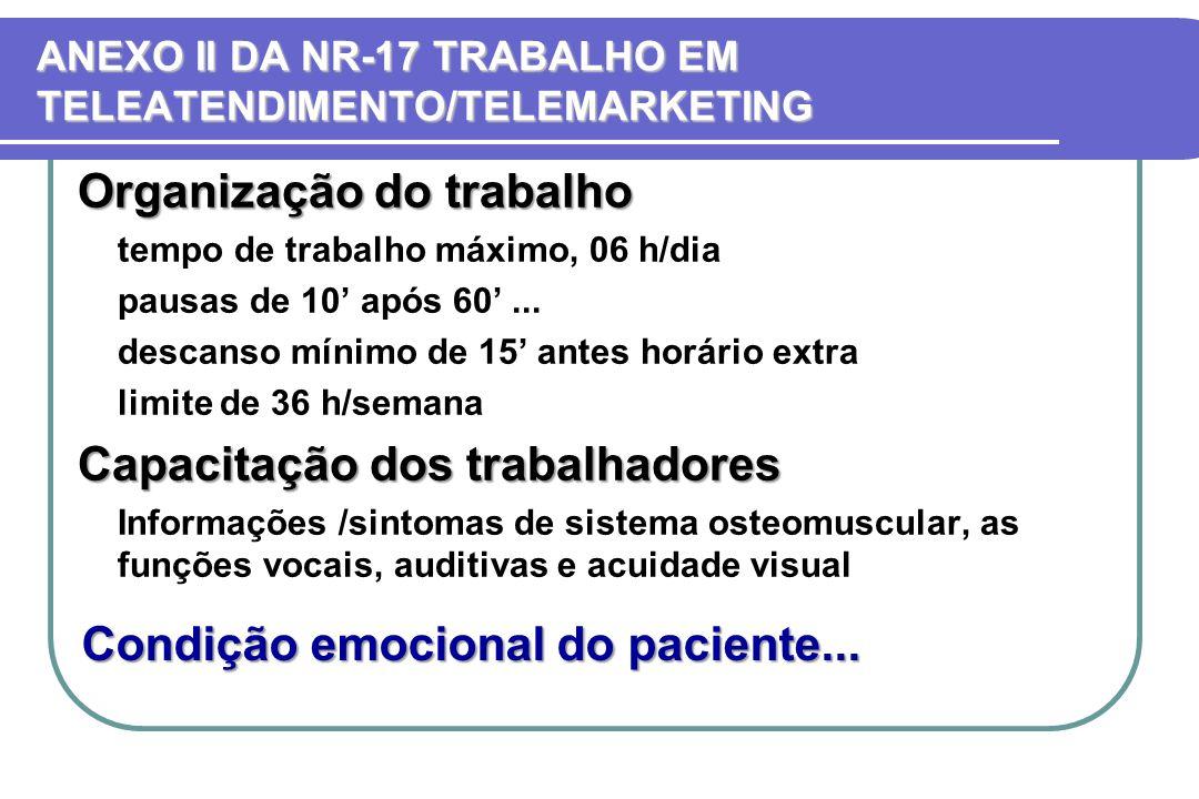 ANEXO II DA NR-17 TRABALHO EM TELEATENDIMENTO/TELEMARKETING
