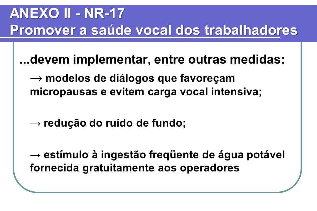 ANEXO II - NR-17 Promover a saúde vocal dos trabalhadores