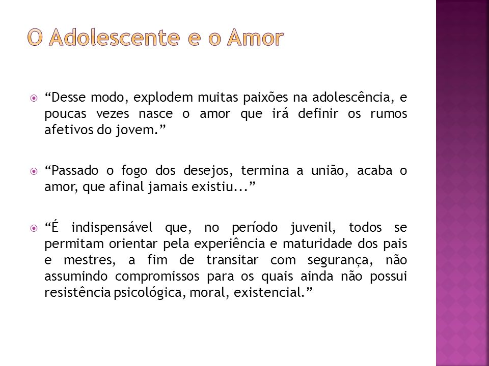 O Adolescente e o Amor