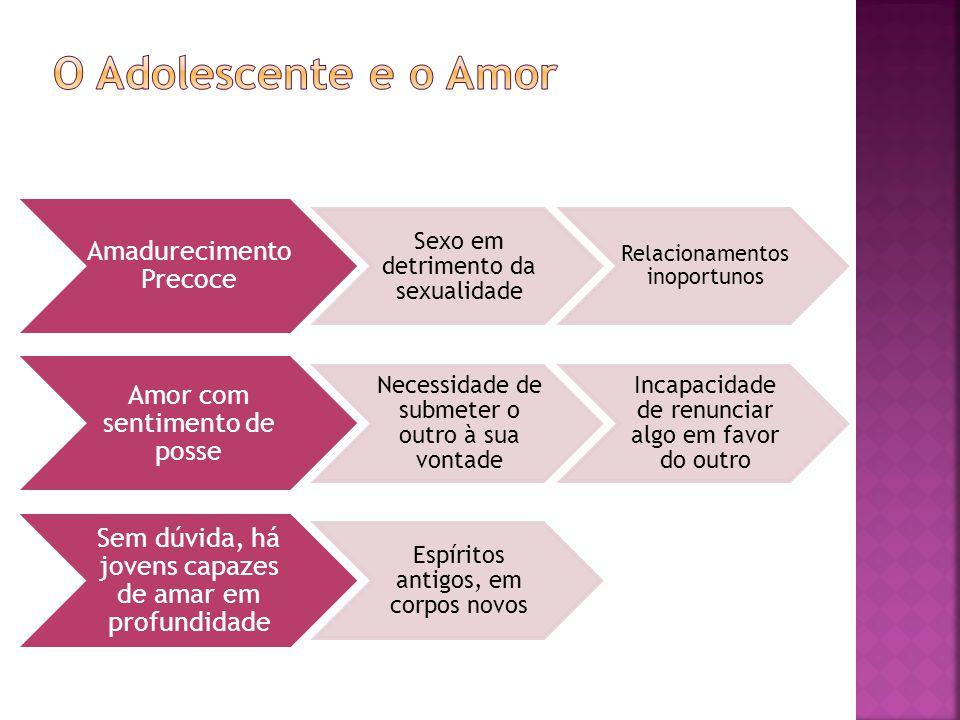O Adolescente e o Amor Amadurecimento Precoce. Sexo em detrimento da sexualidade. Relacionamentos inoportunos.