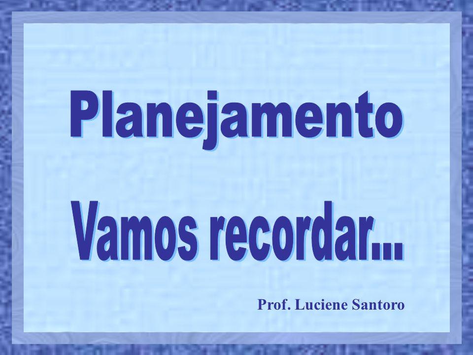 Planejamento Vamos recordar... Prof. Luciene Santoro