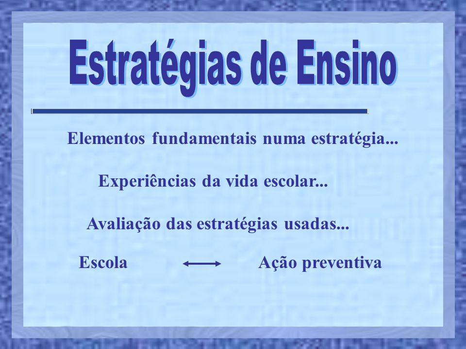Estratégias de Ensino Elementos fundamentais numa estratégia...