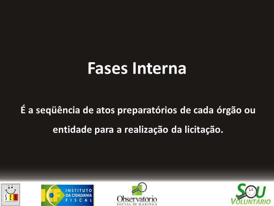 Fases Interna É a seqüência de atos preparatórios de cada órgão ou entidade para a realização da licitação.