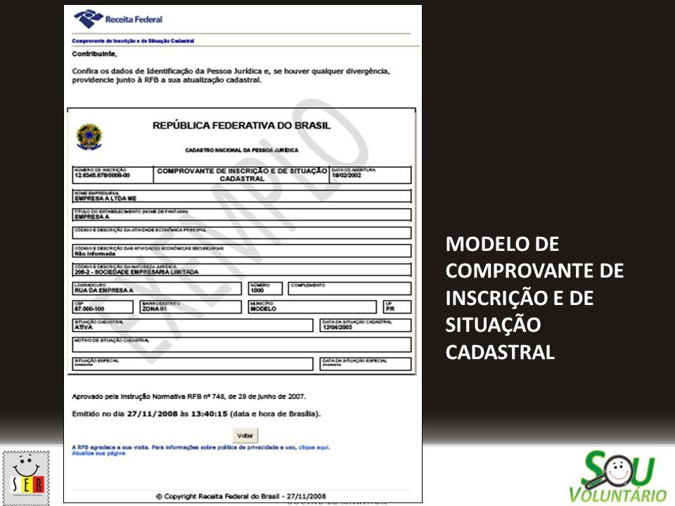 MODELO DE COMPROVANTE DE INSCRIÇÃO E DE SITUAÇÃO CADASTRAL