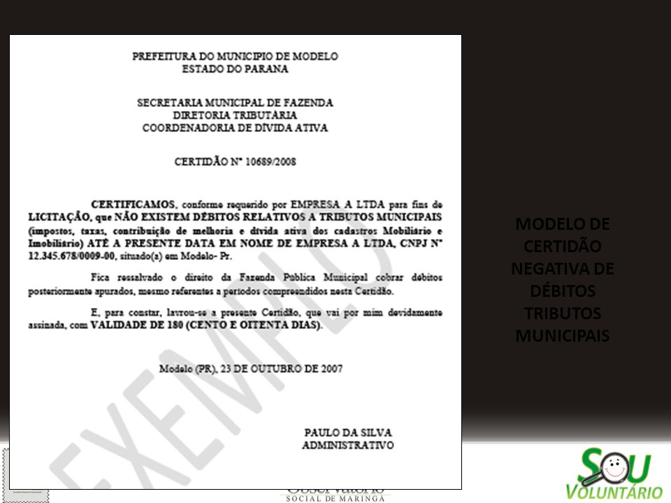 MODELO DE CERTIDÃO NEGATIVA DE DÉBITOS TRIBUTOS MUNICIPAIS