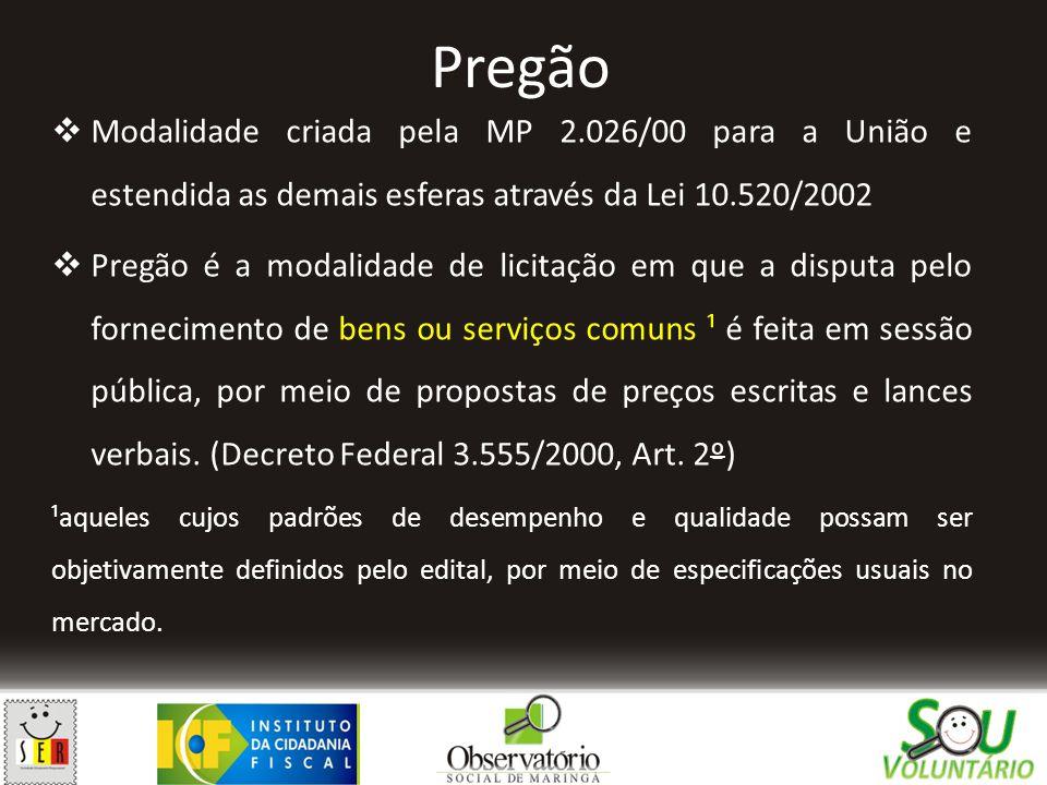 Pregão Modalidade criada pela MP 2.026/00 para a União e estendida as demais esferas através da Lei 10.520/2002.