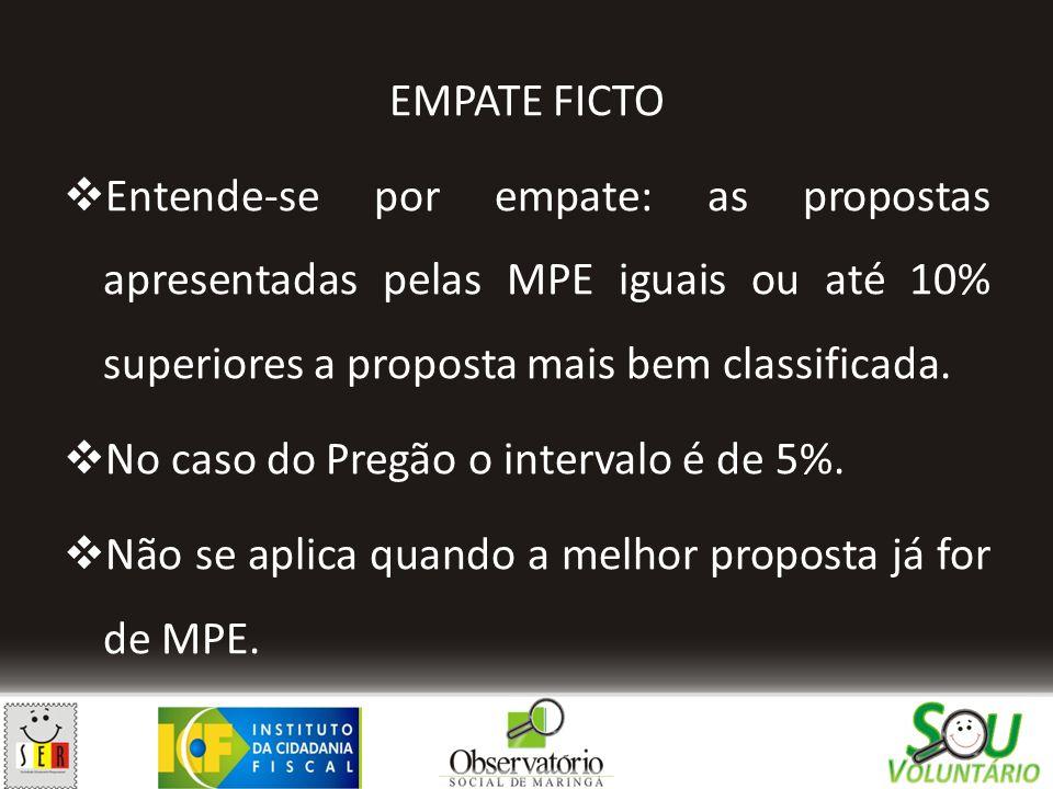 EMPATE FICTO Entende-se por empate: as propostas apresentadas pelas MPE iguais ou até 10% superiores a proposta mais bem classificada.