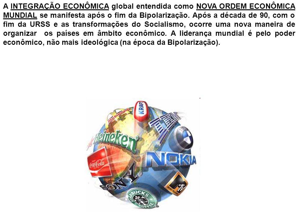 A INTEGRAÇÃO ECONÔMICA global entendida como NOVA ORDEM ECONÔMICA MUNDIAL se manifesta após o fim da Bipolarização.