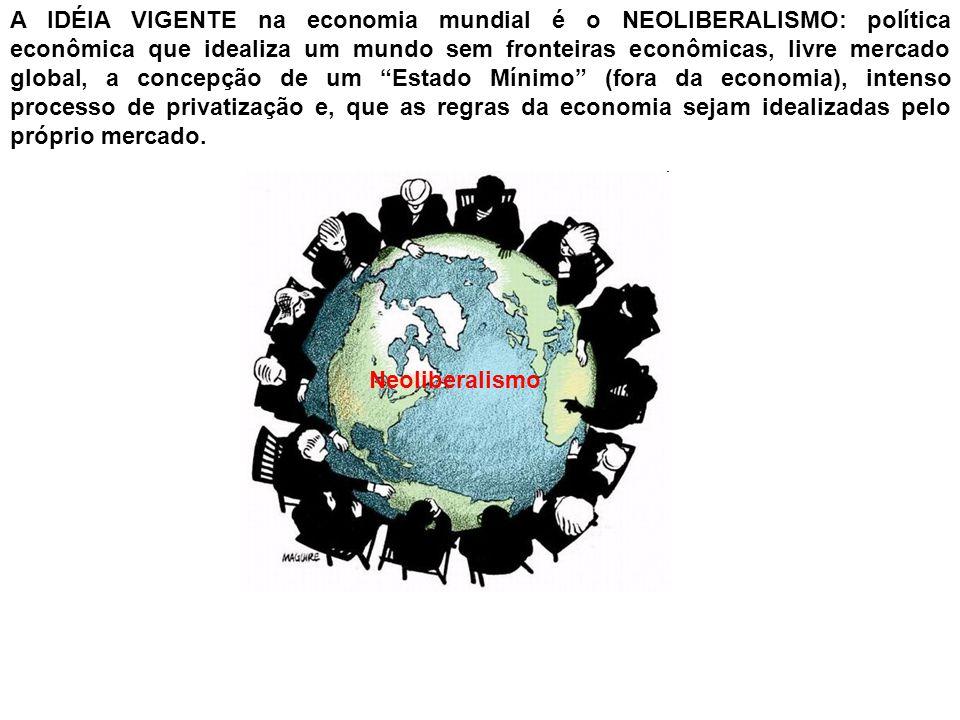 A IDÉIA VIGENTE na economia mundial é o NEOLIBERALISMO: política econômica que idealiza um mundo sem fronteiras econômicas, livre mercado global, a concepção de um Estado Mínimo (fora da economia), intenso processo de privatização e, que as regras da economia sejam idealizadas pelo próprio mercado.