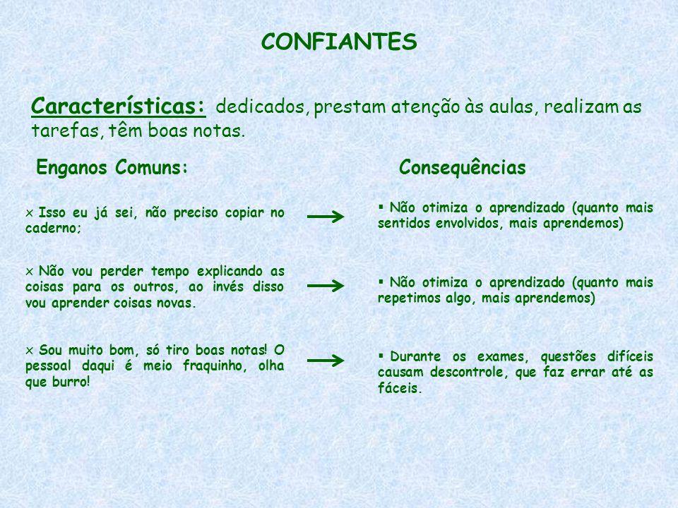 CONFIANTES Características: dedicados, prestam atenção às aulas, realizam as tarefas, têm boas notas.