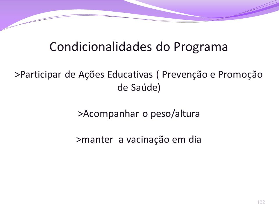 Condicionalidades do Programa