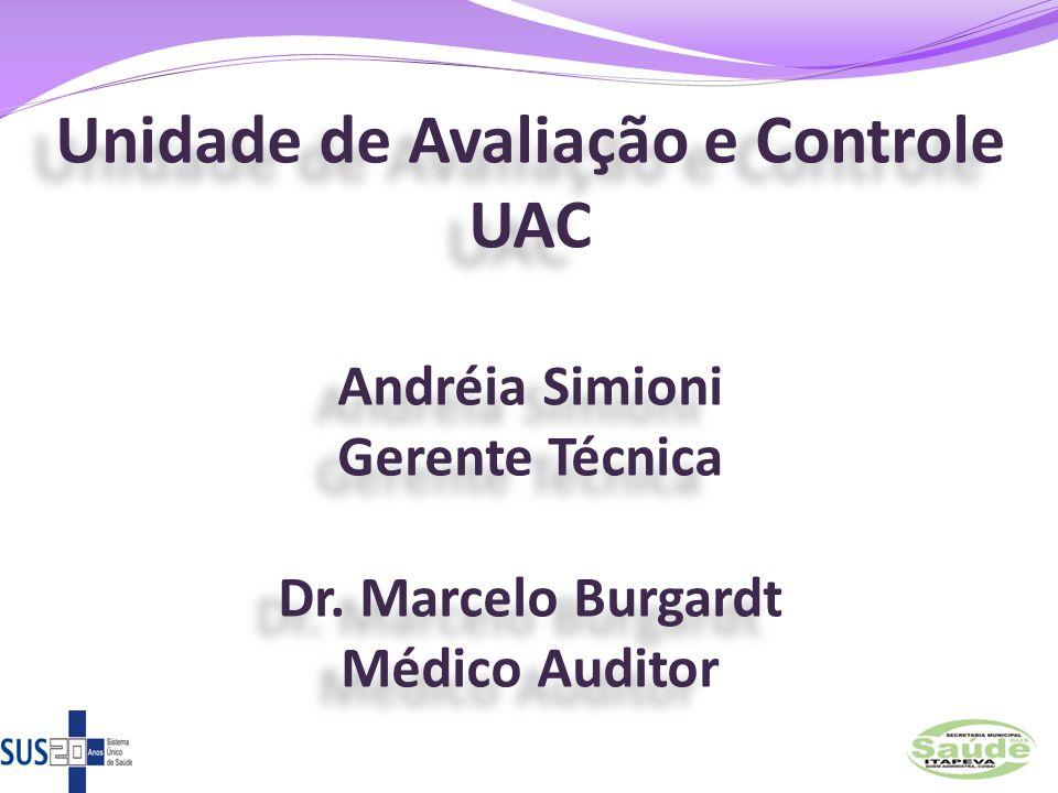 Unidade de Avaliação e Controle UAC Andréia Simioni Gerente Técnica Dr