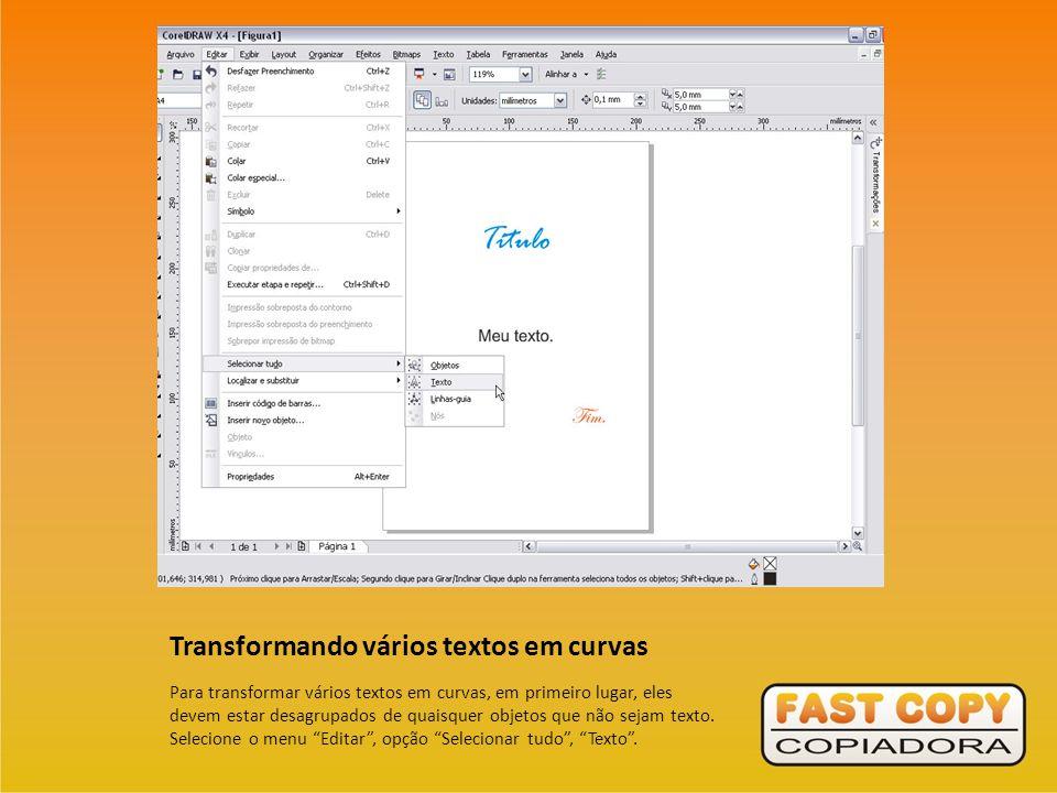Transformando vários textos em curvas
