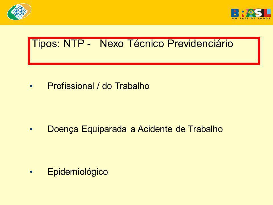 Tipos: NTP - Nexo Técnico Previdenciário