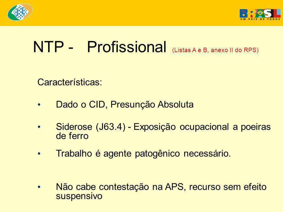 NTP - Profissional (Listas A e B, anexo II do RPS)