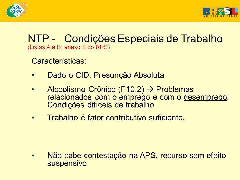 NTP - Condições Especiais de Trabalho (Listas A e B, anexo II do RPS)