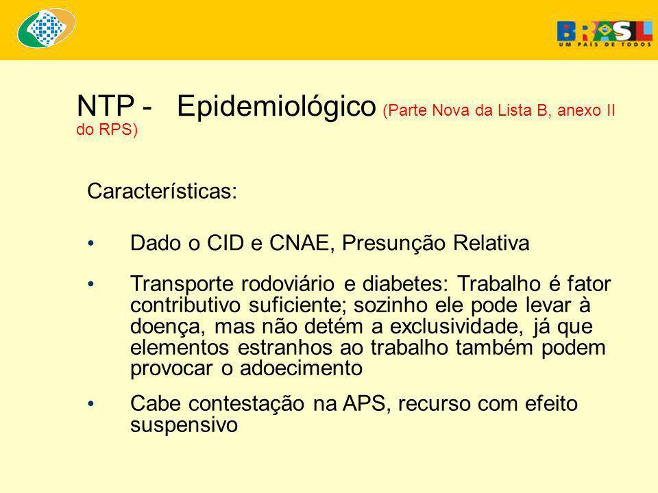 NTP - Epidemiológico (Parte Nova da Lista B, anexo II do RPS)