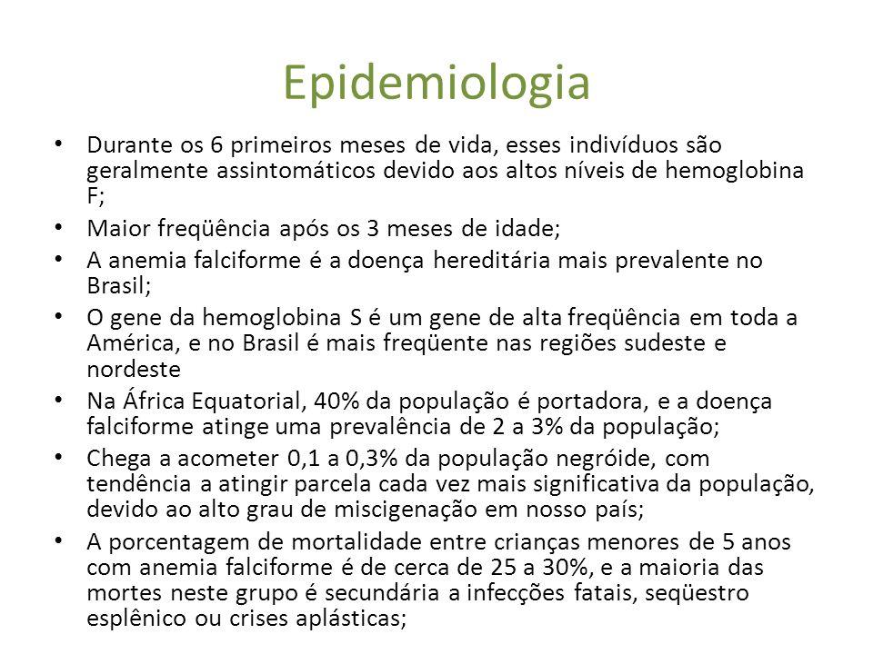 Epidemiologia Durante os 6 primeiros meses de vida, esses indivíduos são geralmente assintomáticos devido aos altos níveis de hemoglobina F;
