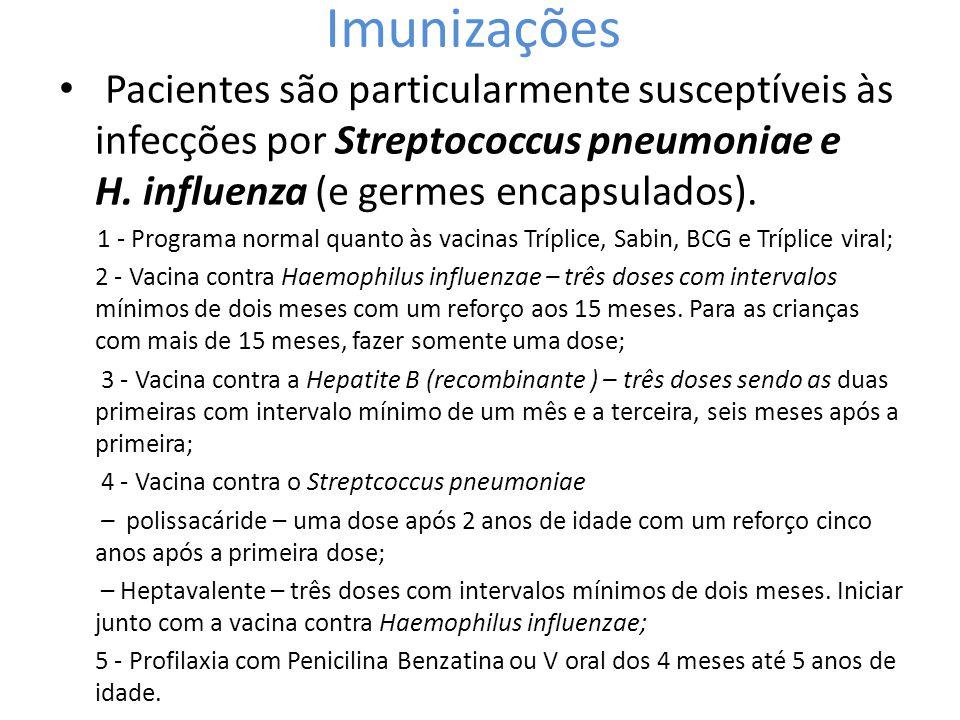 Imunizações Pacientes são particularmente susceptíveis às infecções por Streptococcus pneumoniae e H. influenza (e germes encapsulados).