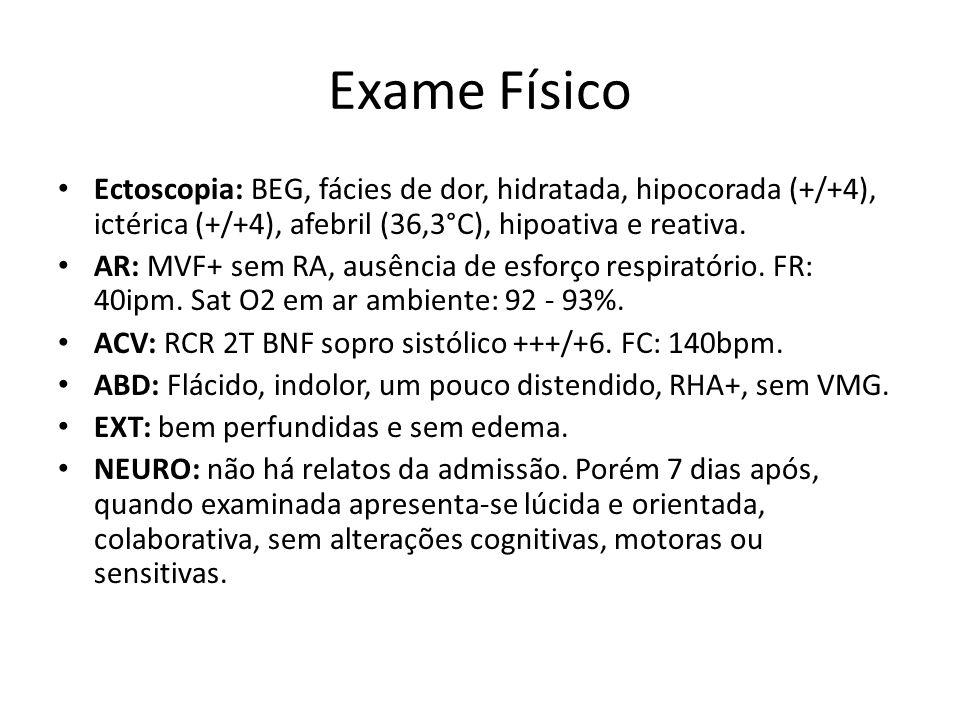 Exame Físico Ectoscopia: BEG, fácies de dor, hidratada, hipocorada (+/+4), ictérica (+/+4), afebril (36,3°C), hipoativa e reativa.
