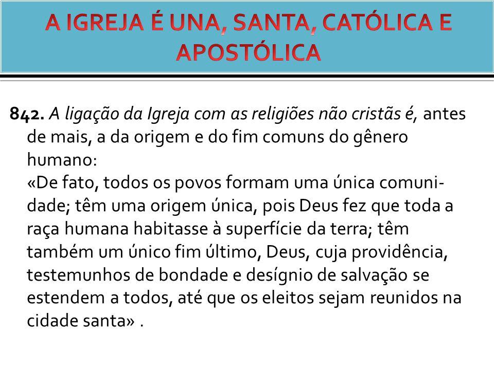 A IGREJA É UNA, SANTA, CATÓLICA E APOSTÓLICA