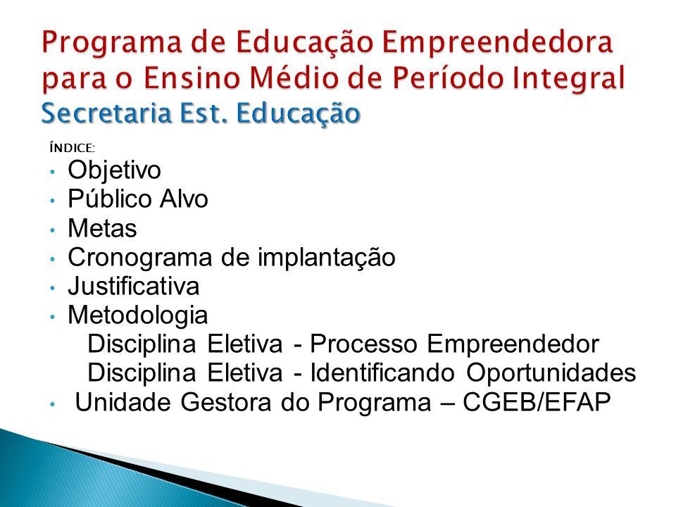 Programa de Educação Empreendedora para o Ensino Médio de Período Integral Secretaria Est. Educação