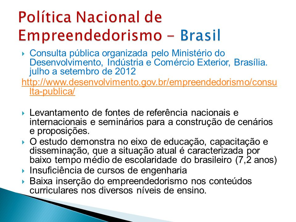 Política Nacional de Empreendedorismo - Brasil
