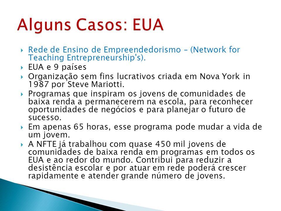 Alguns Casos: EUA Rede de Ensino de Empreendedorismo – (Network for Teaching Entrepreneurship s). EUA e 9 países.