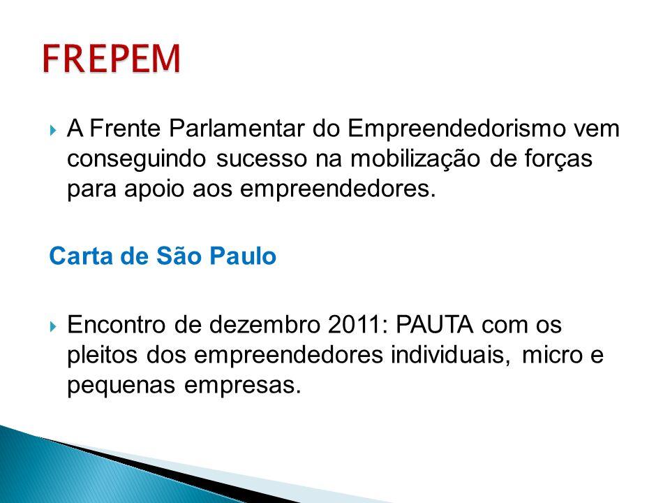 FREPEM A Frente Parlamentar do Empreendedorismo vem conseguindo sucesso na mobilização de forças para apoio aos empreendedores.